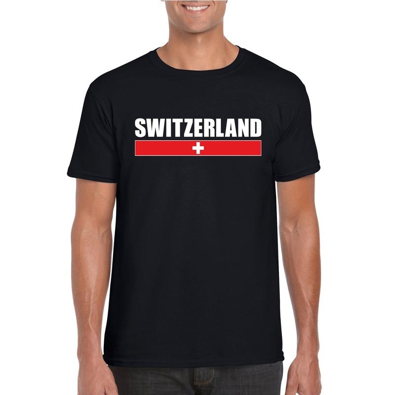 Landen versiering en vlaggen Zwitserse supporter t shirt zwart voor heren