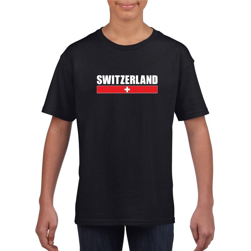Landen versiering en vlaggen Shoppartners Zwitserse supporter t shirt zwart voor kinderen