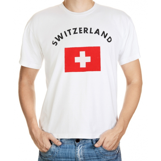 Shoppartners Zwitserse vlag t shirt Landen versiering en vlaggen