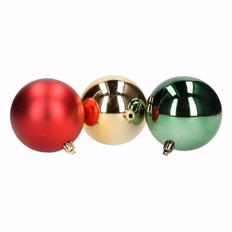 Traditional Christmas 12-delige kerstballen set rood/groen